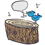 Uccello su una bolla del ceppo dell'albero Immagini Stock Libere da Diritti