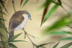 Uccello sul rotolo cinese Immagini Stock Libere da Diritti
