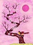 Uccello sulla filiale con i fiori bianchi, dipingenti Fotografia Stock Libera da Diritti