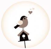 Uccello sveglio del biglietto di S. Valentino con un Birdhouse (retro marrone) Immagini Stock Libere da Diritti