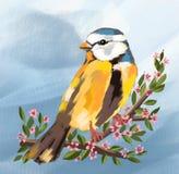 uccello sveglio e stagione primaverile e fiori sull'albero, uccello sveglio, uccelli svegli dell'uccello, molla, animali, natura, illustrazione vettoriale