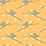 Uccello sveglio sull'illustrazione senza cuciture del fondo del modello della siluetta del ramo Immagine Stock Libera da Diritti