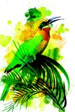Uccello tropicale su un fondo dell'acquerello illustrazione vettoriale