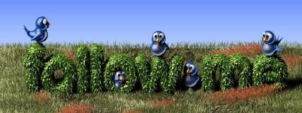 Uccello twittering blu che se lo leva in piedi su un seguire barriera Fotografie Stock