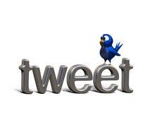 Uccello twittering blu che si leva in piedi sul tweet di parola Fotografia Stock Libera da Diritti