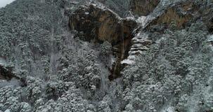 Uchan su瀑布在冬天 股票视频