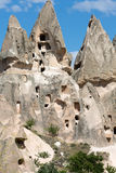 Uchisar城堡在卡帕多细亚,土耳其 免版税图库摄影