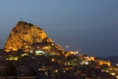 Uchisar城堡在Cappacocia, Nevsehir,土耳其 免版税图库摄影