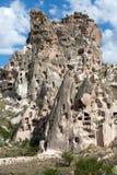 Uchisar城堡看法在卡帕多细亚 图库摄影