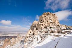 uchisar cappadocia的城堡 免版税库存图片