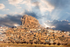 Uchisar castle in Cappadocia Royalty Free Stock Photography