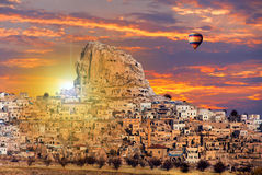 Uchisar castle in Cappadocia Royalty Free Stock Photo