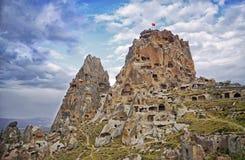 Uchisar castle  in Cappadocia, Central Anatolia Royalty Free Stock Photos