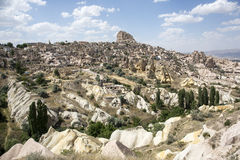 Uchisar castle in  Cappadocia, Nevsehir Stock Photo