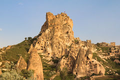 Uchisar castle in Cappadocia Stock Images
