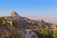 Uchisar Castle in Cappadocia Turkey Stock Image
