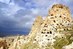Uchisar castle in Cappadocia, Turkey Stock Photos