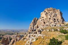 Uchisar Castle in Cappadocia Turkey Royalty Free Stock Photography