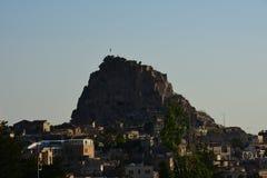 Uchisar Castle in Cappadocia Turkey stock images