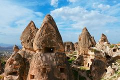 Uchisar castle in Cappadocia, Turkey Royalty Free Stock Image