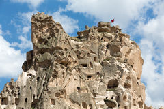 Uchisar castle in Cappadocia Royalty Free Stock Photo