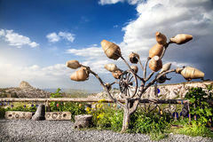 Uchisar castle and tree in Cappadocia Royalty Free Stock Photo