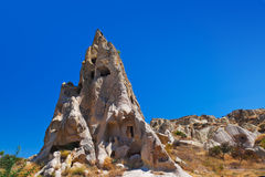 Uchisar cave city in Cappadocia Turkey. Nature background Royalty Free Stock Images