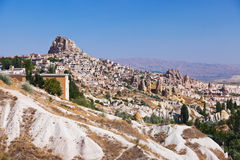 Uchisar cave city in Cappadocia Turkey. Nature background Royalty Free Stock Image