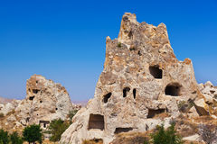 Uchisar cave city in Cappadocia Turkey. Nature background Stock Image