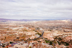 The Uchisar city view from the ancient fortress of Uchisar Royalty Free Stock Images