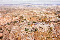 The Uchisar city view from the ancient fortress of Uchisar Royalty Free Stock Photography
