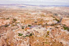 The Uchisar city view from the ancient fortress of Uchisar Royalty Free Stock Photos