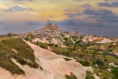 Uchisar Schloss in Cappadocia Stockfotografie
