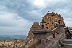 Uchisar Schloss in Cappadocia Stockbild