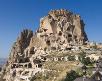 Uchisar Schloss in Cappadocia, die Türkei Lizenzfreies Stockfoto