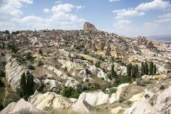 Uchisar slott i Cappadocia, Nevsehir Arkivfoto