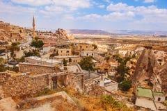 Uchisar village among rocky valleys in Cappadocia area Stock Photo