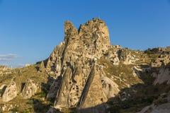 Uchisarkasteel in Cappadocia bij zonsondergang royalty-vrije stock foto's