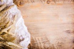 Ucho banatka na drewnianym tle Rama Obrazy Royalty Free