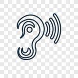 Ucho z dźwięka baru pojęcia wektorową liniową ikoną odizolowywającą na transp ilustracji