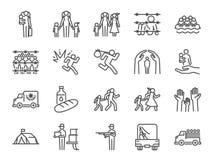 Uchodźca ikony set Zawrzeć ikony jako wysiedleniec, ewakuuje, azyl, schronienie, prześladowanie, ucieczka, międzynarodowy problem ilustracja wektor