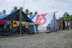 Uchodźcy namiot trzęsienie ziemi W Palu zdjęcia stock