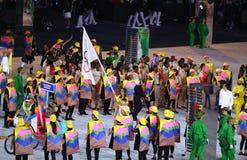 Uchodźcy Olimpijski Drużynowy spacer W Rio 2016 olimpiad ceremonię otwarcia Gdy Maszerują Pod Olimpijską flaga Zdjęcia Stock