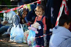 uchodźcy opuszcza Węgry Obraz Royalty Free