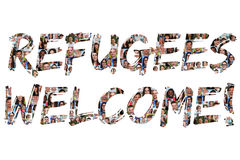 Uchodźcy powitania grupa młodzi wielo- etniczni ludzie Obraz Royalty Free