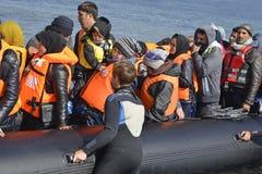 Uchodźcy przyjeżdża przy Lesvos Zdjęcia Royalty Free