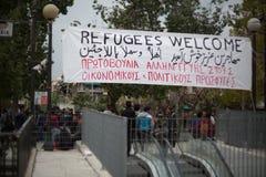 Uchodźcy protest Zdjęcia Stock