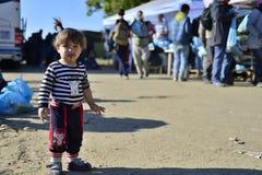 Uchodźcy w Babsko (serb - Croatina granica) Obrazy Stock