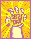 Uchwyta dzień rękę łapie słońca carpe diem pojęcia ilustrację ilustracja wektor