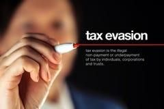 Uchylanie się od podatków definicja Obraz Stock